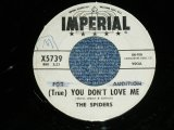 "The SPIDERS - (True) YOU DON'T LOVE ME : WITCHCRAFT ( VG++/VG++ ) / 1961 US AMERICA  ORIGINAL ""WHITE LABEL PROMO"" Used 7"" SINGLE"