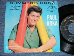 "画像1: PAUL ANKA - SUMMER'S GONE : I'D HAVE TO SHARE   ( VG++/Ex : TEAROC,TEAROL )  / 1960  US AMERICA ORIGINAL  Used  7"" Single  With PICTURE SLEEVE"