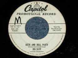 """画像1: BIG DAVE (BILL HALEY'S MEMBER) - ROCK AND ROLL PARTY : YOUR KIND OF LOVE  ( Ex/Ex ) / 1956 US AMERICA ORIGINAL """"WHITE LABEL PROMO""""  Used 7"""" 45 Single"""