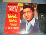 "ELVIS PRESLEY - GIRLS! GIRLS! GIRLS!  (MATRIX # A) N22P-3293-4S A6  B) N22P-3294-3S A4 )  (Ex+/Ex+++ Looks:Ex++) / 1962 US AMERICA 1st Press ""SILVER RCA VICTOR LOGO & LONG PLAY at bottom Label"" MONO Used LP"